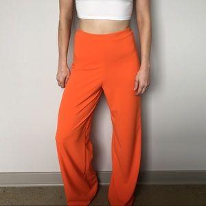 Bright Orange Wide Leg Pants